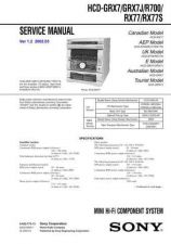 Buy Sony HCD-GRX7GRX7JR700RX77RX77S Service Manual by download Mauritron #241039