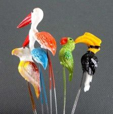 Buy 10 MINIATURES MIXED COLORFUL 4 TYPES BIRDS ANIMAL GARDEN STAKES TERRARIUM DECOR