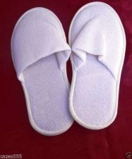 Buy One size white spa slippers comfortable warmth of soft cotton hotel quality X4