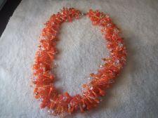 Buy Orange/White Seed Bead like Necklace 16 inches/Christmas/Beaded