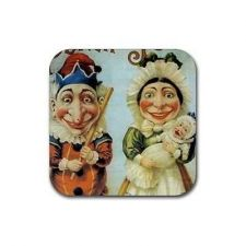 Buy Punch and Judy Art Set Of 4 Square Rubber Coasters