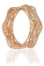 Buy Curvy Rose Gold tone 4pc cz crystal bangle bracelet k14