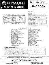Buy Hitachi D2200M Service Manual by download Mauritron #261715