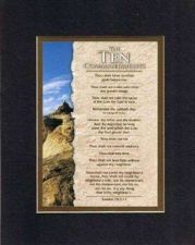 Buy Inspirational Poem - Ten Commandments 8x10 BlkOnGold Double Beveled Matting