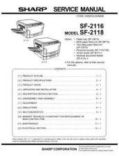 Buy Sharp SF2116-2118 SM DE Service Manual by download Mauritron #210499