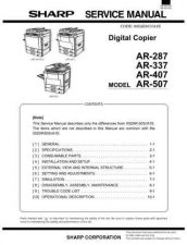 Buy Sharp AR287-337-407-507 PG GB(1) Service Manual by download Mauritron #208114