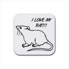 Buy Pet Rat Art Set Of 4 Square Rubber Drink Coasters
