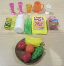 Buy BARBIE DOLLHOUSE MINIATURES Fruit, Cups, drinks, Chips