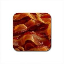 Buy Bacon Strips Set Of 4 Square Rubber Coasters