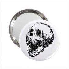 Buy Human Skull Goth Art Round Handbag Purse Mirror