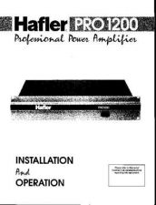 Buy HAFLER PRO1200 Manual by download Mauritron #230018