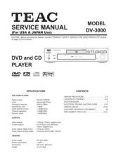 Buy Teac DV-3000 US Service Manual by download Mauritron #223676