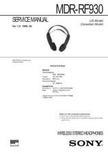 Buy Sony MDR-RF930 Service Manual. by download Mauritron #242616