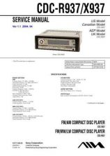 Buy Sony CDC-R937-X937 Service Manual by download Mauritron #231656