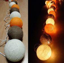 Buy CARAMEL ORANGE VINTAGE 20 COTTON BALL STRING LIGHTS PARTY HOME GARDEN DÉCOR