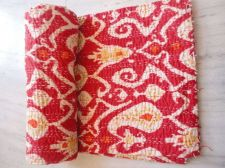 Buy hand made cotton fabric kantha work quilt ikat print rally queen size bed sheard