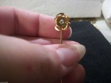 Buy Vintage Collectible ROSE FLOWER gold tone Hat/scarf/lapel Stick Pin