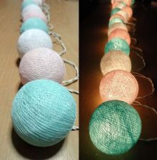 Buy LIGHT PASTEL SWEET 20 COTTON BALL STRING LIGHTS WEDDING PARTY HOME GARDEN DÉCOR