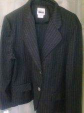 Buy Women's Leslie Fay Blazer Black PinStriped with Collar Size 16