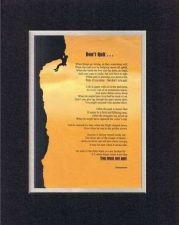 Buy Heartfelt Plaque Motivation - Don't Quit . . BlackonWhite 11 x14 Double Matting