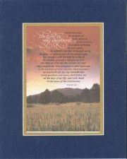 Buy Inspirational Plaque - The Lord is My Shepard . . . 8x10 Blue-On-Gold Dble Mat