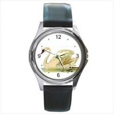 Buy White Swan Art Round Unisex Wrist Watch
