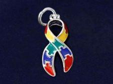 Buy Autism Awareness Puzzle Piece Charm Ribbon Pendant