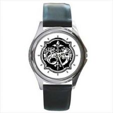 Buy Comedy Tragedy Vintage Art Masks Round Wrist Watch