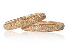 Buy Gold tone broad cz crystal bangle bracelet k4 sz 2.8