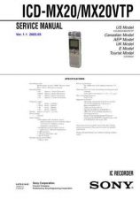 Buy Sony ICD-MX20VTP Service Manual. by download Mauritron #241477
