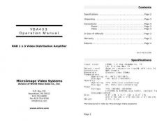 Buy MICRO IMAGE VIDEO SYSTEMS VDA403OM INSTRUCTIONS by download #118899