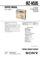 Buy Sony MZ-N505 service manual Technical Manual. by download Mauritron #243135