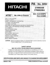 Buy Hitachi 27MM20BA Service Manual Schematics by download Mauritron #205728