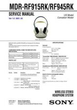 Buy Sony MDR-RF915RKRF945RK Service Manual. by download Mauritron #242614