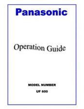 Buy Panasonic UF600 Operating Instruction Book by download Mauritron #236674