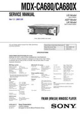 Buy Sony MDX-CA680X service manual Technical Manual. by download Mauritron #242765