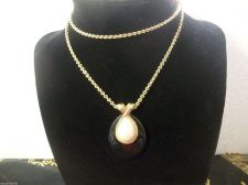 Buy Vintage MONET long Gold tone necklace with Black Pendant Faux Pearl