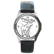 Buy Bull Moose Cartoon Round Unisex New Wrist Watch