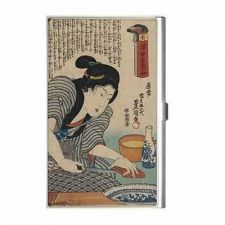 Buy Japanese Woman Sake Cooking Japan Art Business Credit Card Holder
