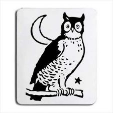 Buy Owl Bird Crescent Moon Art Computer Mouse Pad