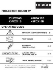 Buy Hitachi 43FDX11B 61UDX10B Service Manual by download Mauritron #262745