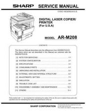 Buy Sharp SHARP AR-M208 SERVICE Service Manual by download Mauritron #210649