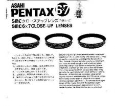 Buy PENTAX 6X7 CLOSE UP LENSES CAMERA INSTRUCTIONS by download #118984
