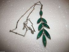 Buy Vintage Signed V Silver tone Necklace/ lucite blue/green hanging leaf/rhinestone