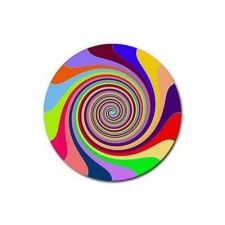 Buy Rainbow Swirl Psychadelic Set Of 4 Round Rubber Drink Coasters