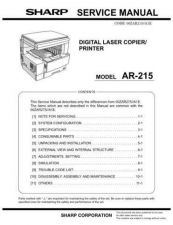 Buy Sharp AR215-235-275-5127 PG REVISED-EDITION GB Service Manual by download Maur