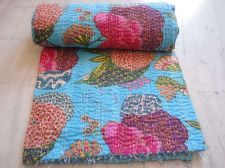 Buy indian kantha cotton fabric flower print quilt rally queen size gudari bedspeard