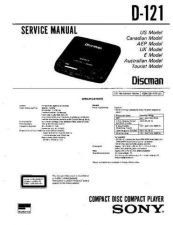 Buy Sony D-121 Manual-1663 by download Mauritron #228470