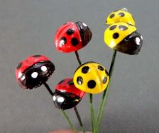 Buy 20 MINIATURES MIXED RED&YELLOW BEETLES INSECT GARDEN STAKES TERRARIUM DECOR