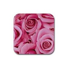 Buy Pink Roses Flowers Set Of 4 Square Rubber Coasters